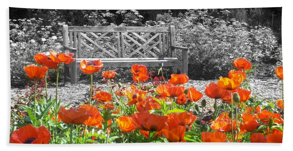 Nature Bath Sheet featuring the photograph Poppy Seed Bench by Mary Mikawoz