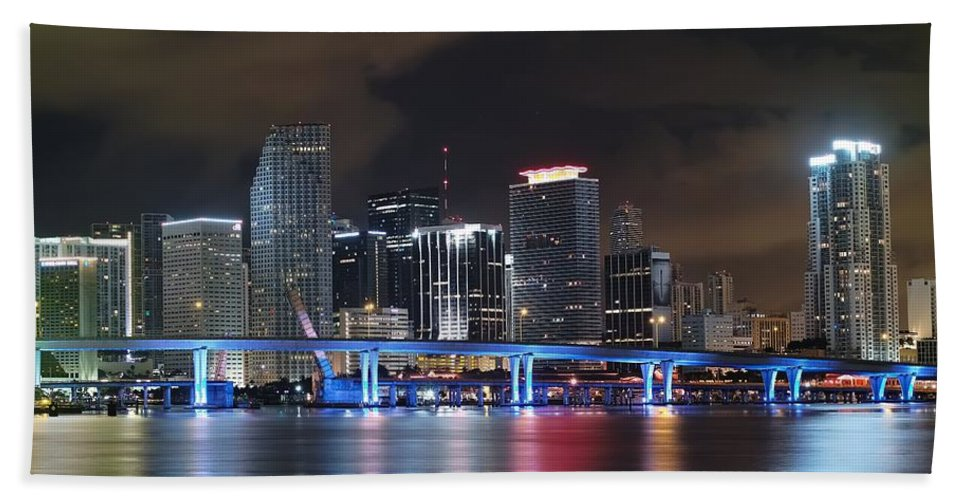 Art Hand Towel featuring the photograph Port Of Miami Downtown by Gary Dean Mercer Clark