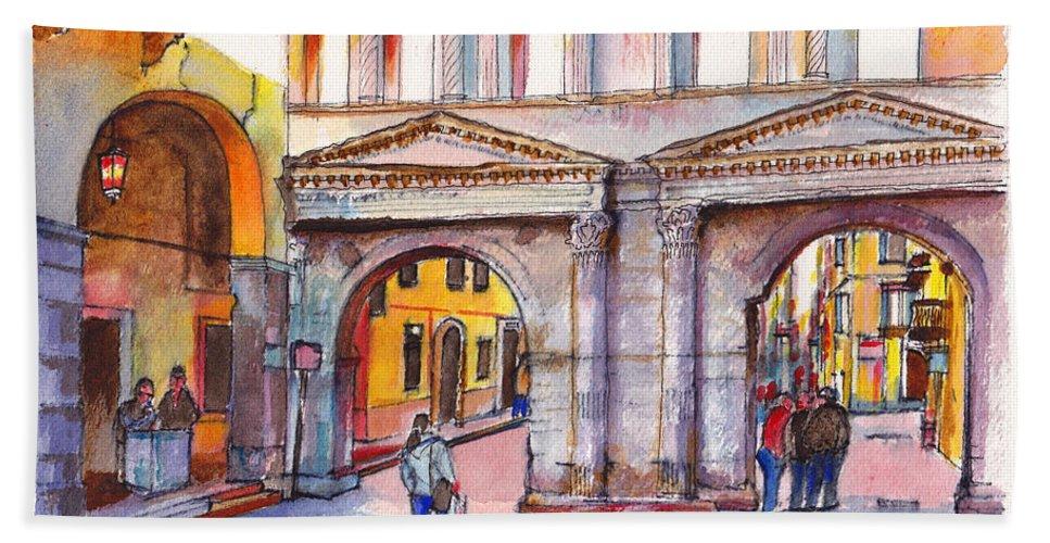 Italy Hand Towel featuring the painting Porta Borsari Verona First Century Ad Roman Gate by Dai Wynn