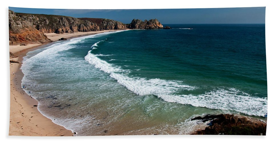 Porthcurnow Hand Towel featuring the photograph Porthcurnow Beach by Rob Hawkins