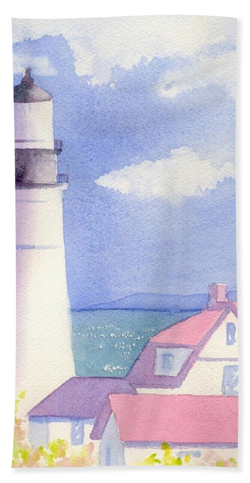 Portland Maine Hand Towel featuring the painting Portland Light 2 by Joseph Gallant