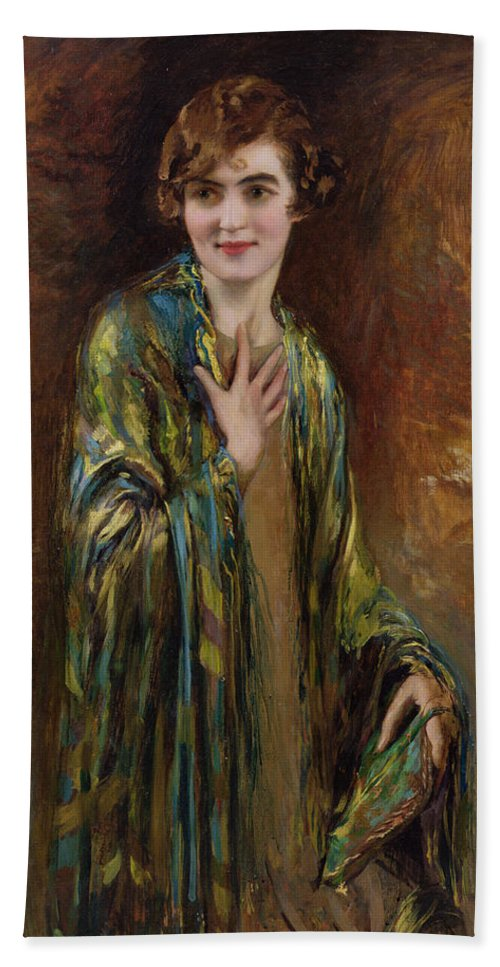 Gg72206 Bath Sheet featuring the photograph Portrait Of A Girl With A Green Shawl by Isaac Cohen