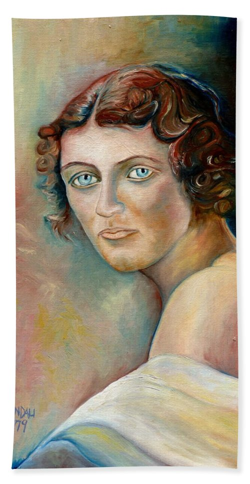 Portrait Of A Lady Bath Sheet featuring the painting Portrait Of A Lady by Carole Spandau
