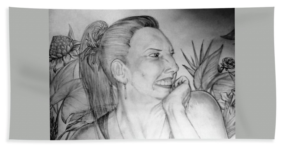 Portrait Bath Sheet featuring the drawing Portrait Of Ana by Derrick Bruno-Rathgeber