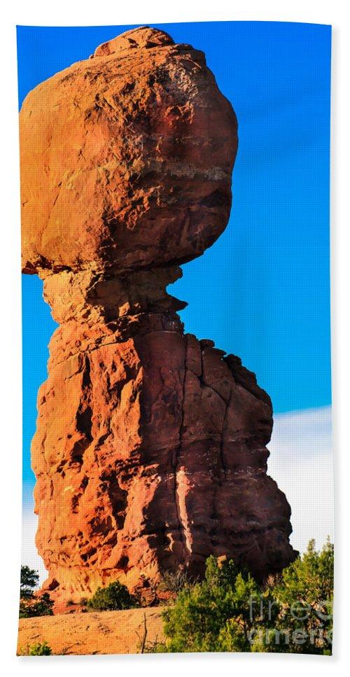 Balance Rock Hand Towel featuring the photograph Portrait Of Balance Rock by Robert Bales