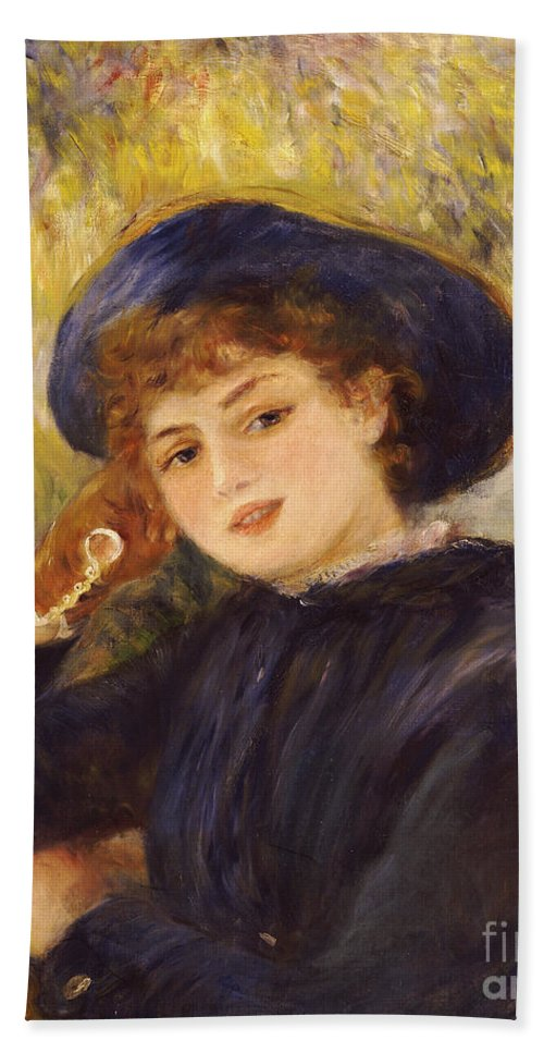 Impressionist; Impressionism; Female; Half Length; Portrait Hand Towel featuring the painting Portrait Of Mademoiselle Demarsy by Pierre Auguste Renoir