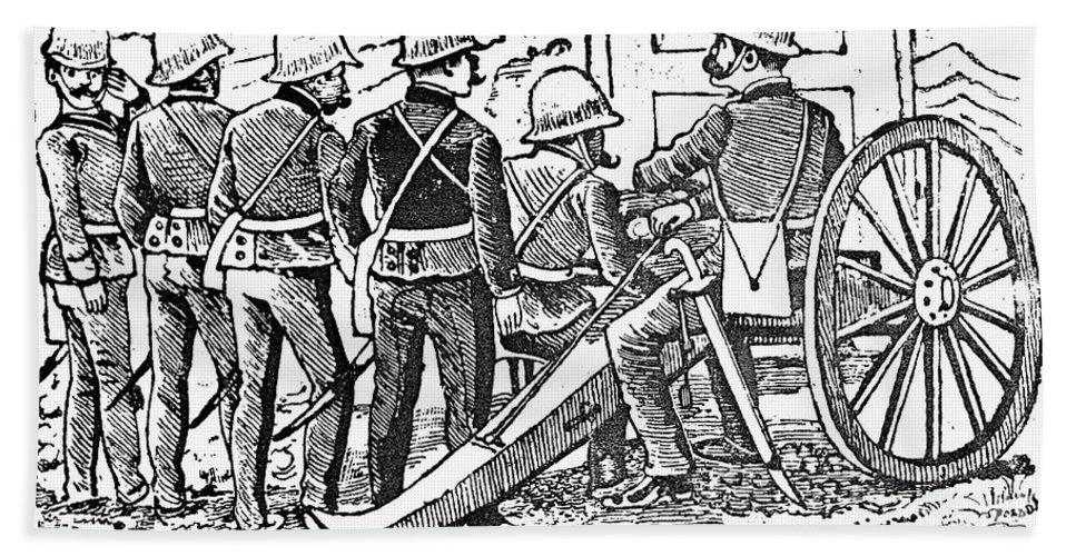 1912 Bath Sheet featuring the photograph Posada: The Artillerymen by Granger