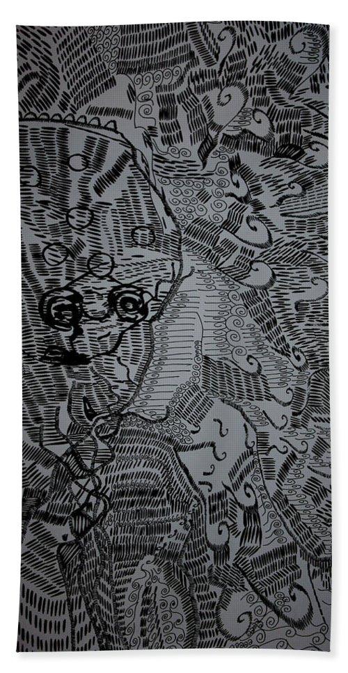 Jesus Bath Sheet featuring the drawing Poseidon by Gloria Ssali