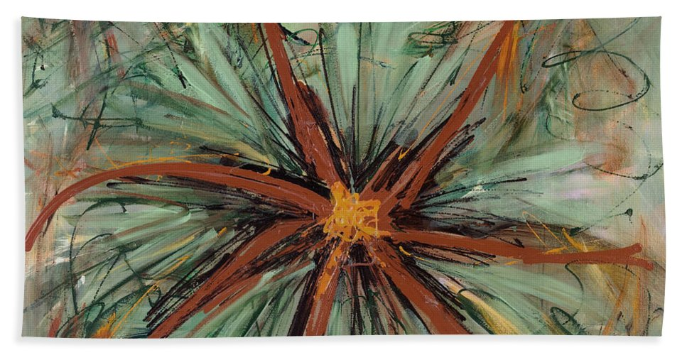 Abstract Bath Sheet featuring the painting Posing For You by Lynne Taetzsch