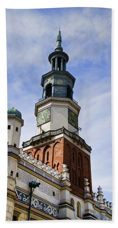 Posnan Bath Sheet featuring the photograph Posnan Poland Clock Tower by Jon Berghoff