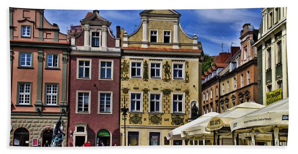 Posnan Bath Sheet featuring the photograph Posnan Shops - Poland by Jon Berghoff