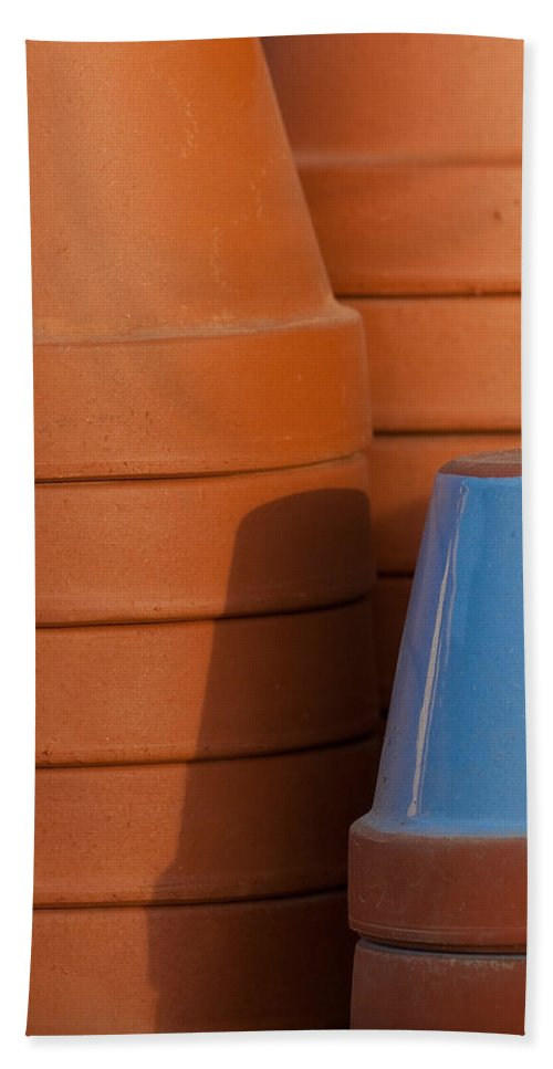 Abstract Bath Sheet featuring the photograph Pots In Sun by Sean Wray