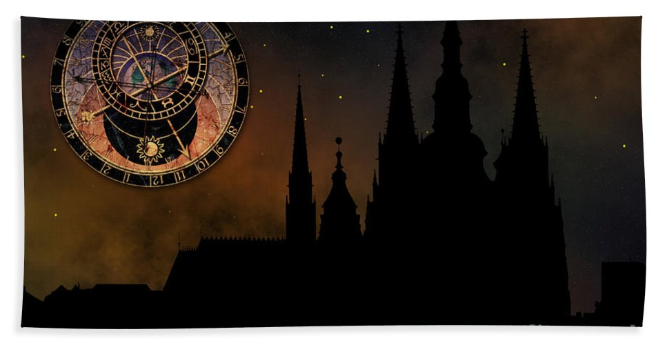 Hradcany Bath Sheet featuring the digital art Prague Casle - Cathedral Of St Vitus - Monuments Of Mysterious C by Michal Boubin