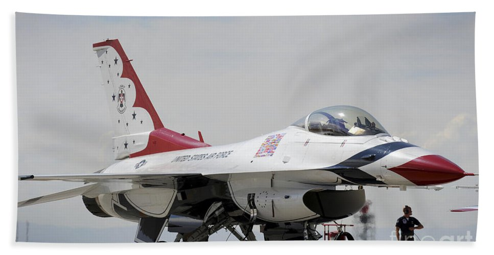 Thunderbirds Hand Towel featuring the photograph Preflight Checks Are Performed by Stocktrek Images