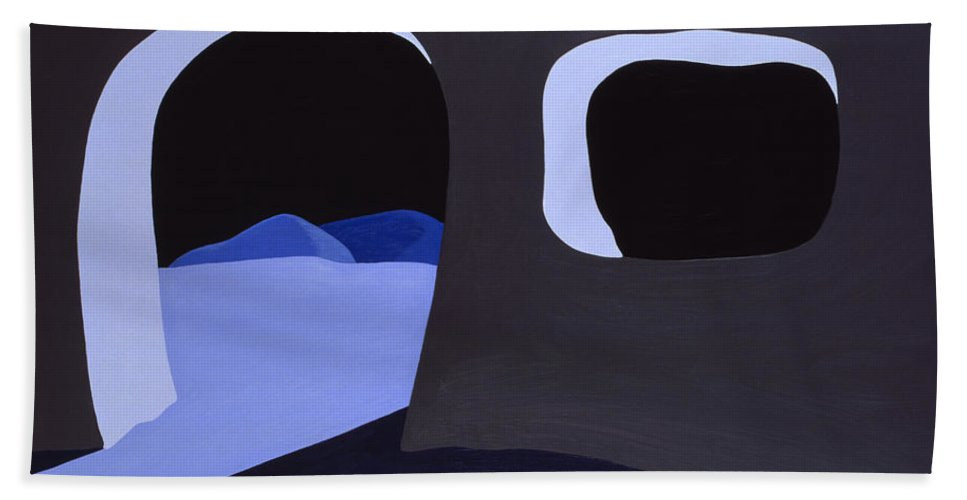 Cave Bath Towel featuring the painting Prehistoric Nocturne by John Bowers