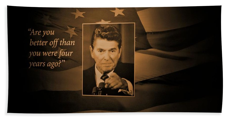 President Ronald Reagan Hand Towel featuring the photograph President Reagan by Tommy Anderson