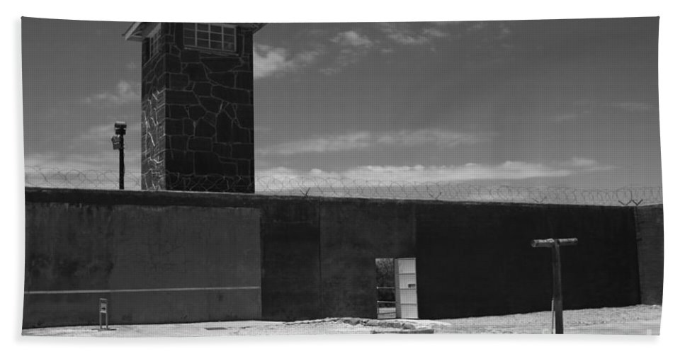 Robben Island Hand Towel featuring the photograph Prison Tower by Aidan Moran