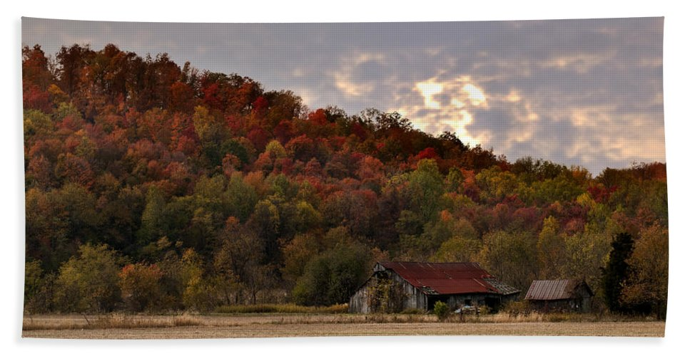 Barn Protected Hand Towel featuring the photograph Protected By Hills Many Years by Randall Branham