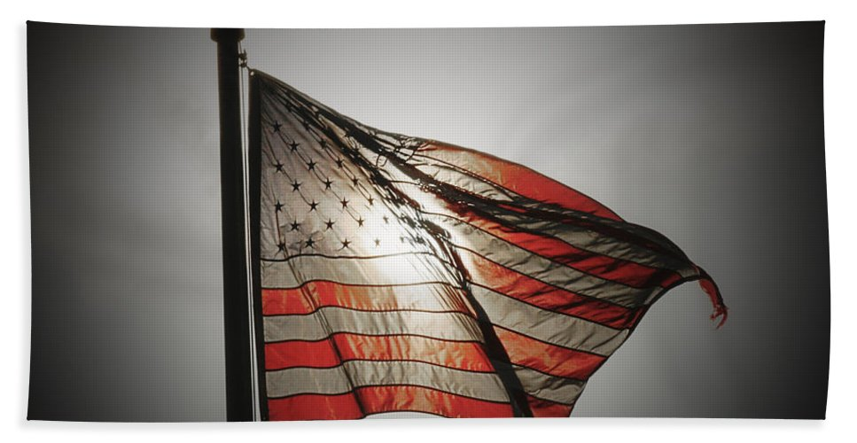American Flag Bath Sheet featuring the photograph Proud by Chris Brannen