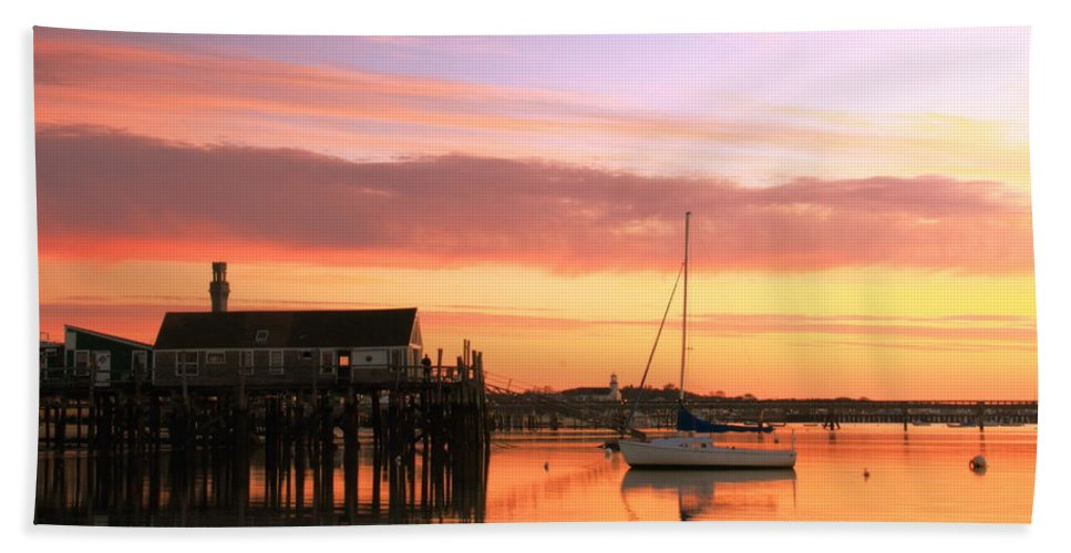 Dawn Bath Sheet featuring the photograph Provincetown Harbor Before Sunrise by Roupen Baker