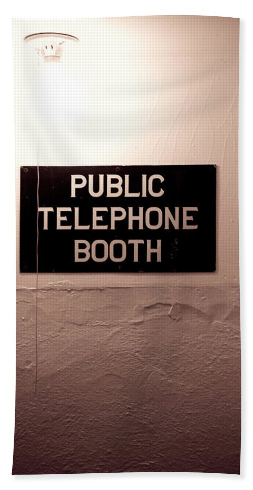 Telephone Bath Sheet featuring the photograph Public Phone Booth by Lauri Novak