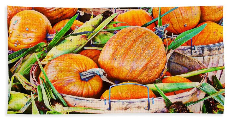 Pumpkin Bath Sheet featuring the photograph Pumpkin And Corn Combo by Ms Judi