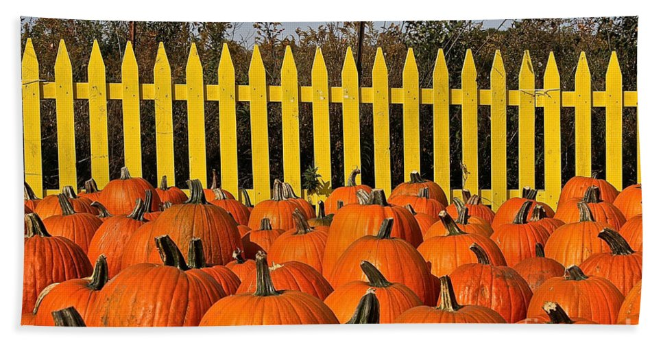 Outdoors Hand Towel featuring the photograph Pumpkin Corral by Susan Herber