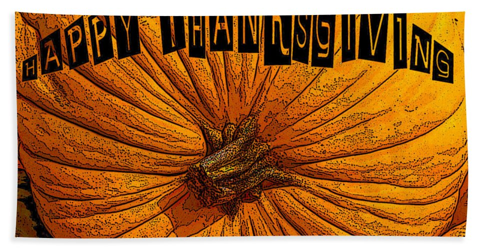 Art Bath Sheet featuring the painting Pumpkin Holiday by David Lee Thompson