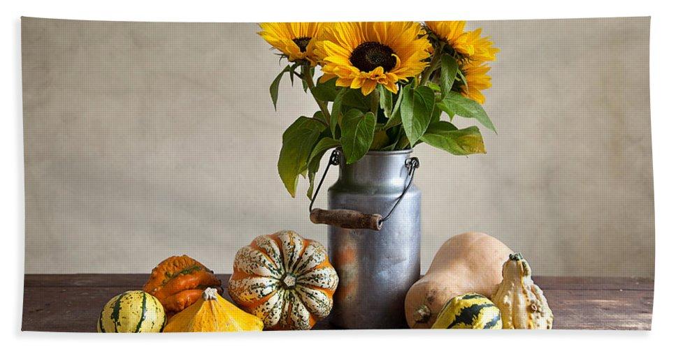 Autumn Bath Sheet featuring the photograph Pumpkins And Sunflowers by Nailia Schwarz