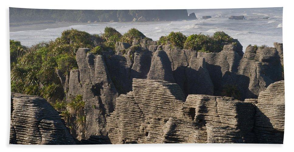 Backgrounds Bath Sheet featuring the photograph punakaiki pancake rock New Zealand by U Schade