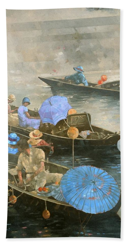 River; Boats; Boat; Boating; Leisure; Day Trip; Parasols; Punt; Punting; Umbrella Bath Sheet featuring the painting Punts On The Wey At Brooklands by Peter Miller