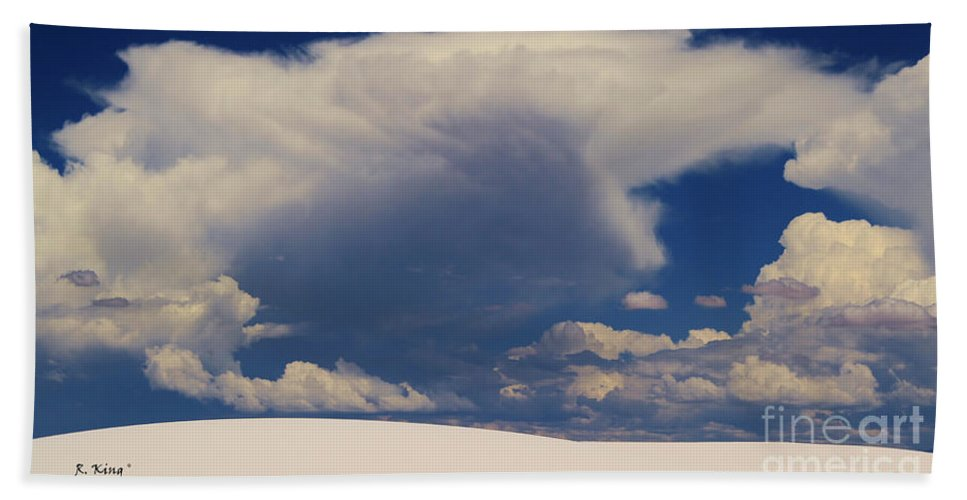 Roena King Bath Sheet featuring the photograph Pure White Sand And Mountain Storms by Roena King