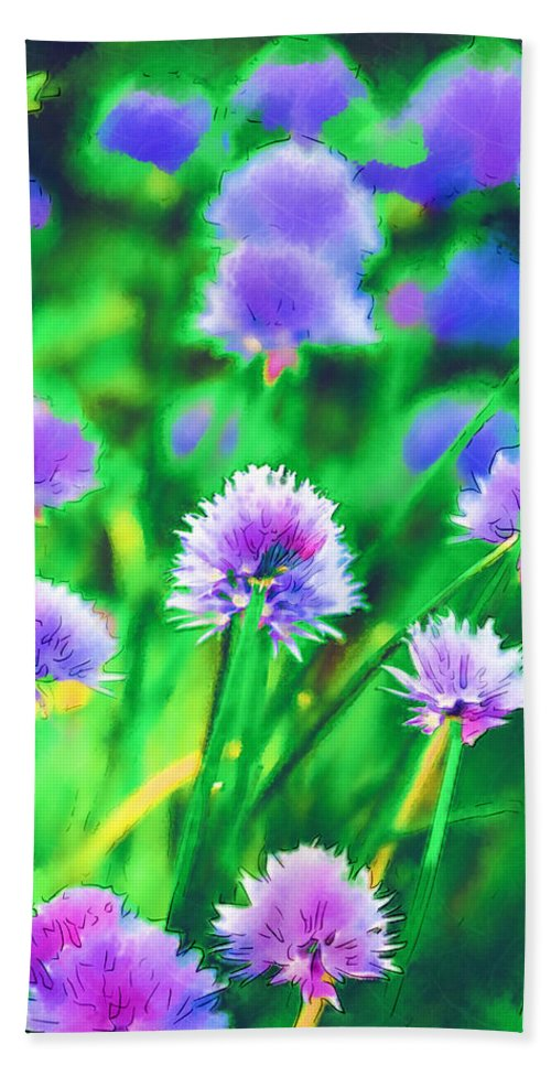 Chives Bath Sheet featuring the photograph Purple And Green Chive Watercolor by Kathy Clark