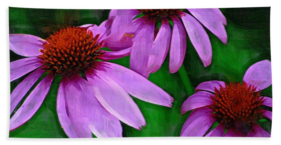 Coneflower Bath Sheet featuring the photograph Purple Coneflower Trio by Kathy Clark