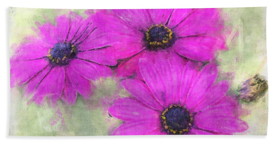 Nature Hand Towel featuring the digital art Purple Daisy Trio Watercolor Photoart by Debbie Portwood