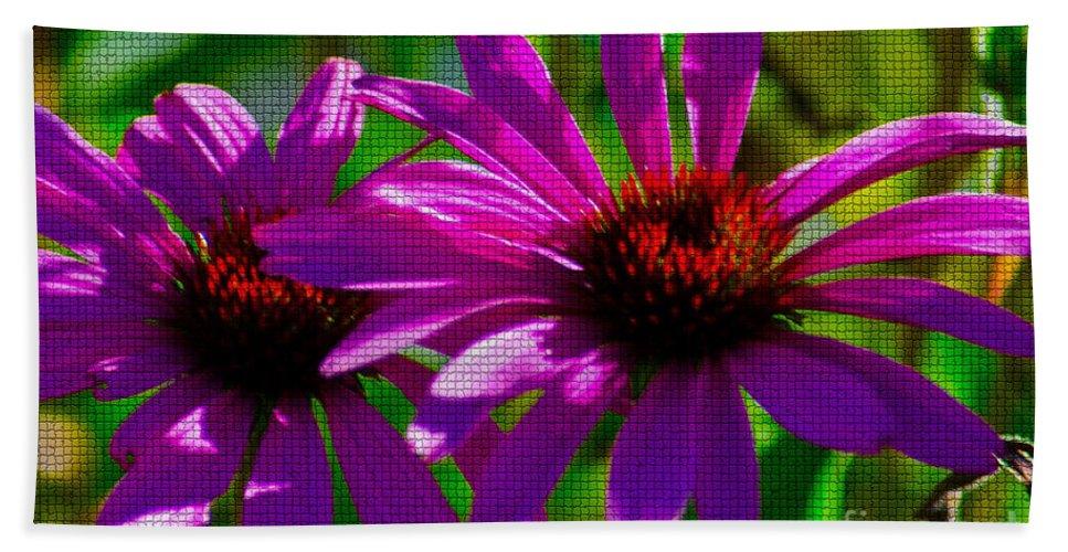 Fine Art Bath Sheet featuring the photograph Purple Daisy's by Donna Greene