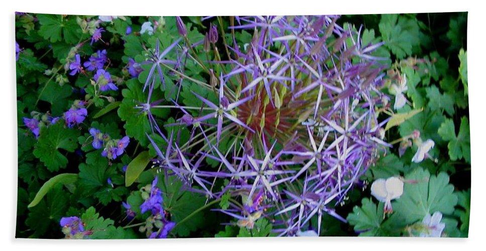 Landscapes Hand Towel featuring the photograph Purple Flower Sphere by April Patterson