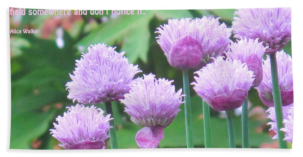 Flowers Bath Sheet featuring the photograph Purple Flowers In The Field by Ian MacDonald