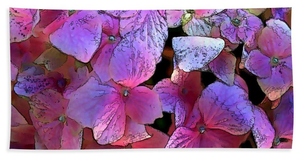 Hydrangeas Hand Towel featuring the painting Purple Hydrangea by Elaine Plesser