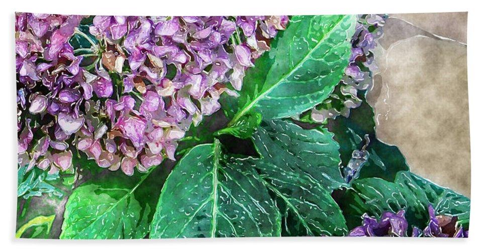 Nature Bath Sheet featuring the digital art Purple Hydrangeas by Debbie Portwood