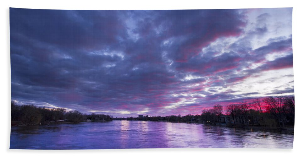 Purple Hand Towel featuring the photograph Purple Sunset by Mircea Costina Photography