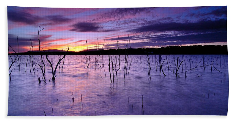 Sunrise Bath Sheet featuring the photograph Purple Waters by Guido Montanes Castillo