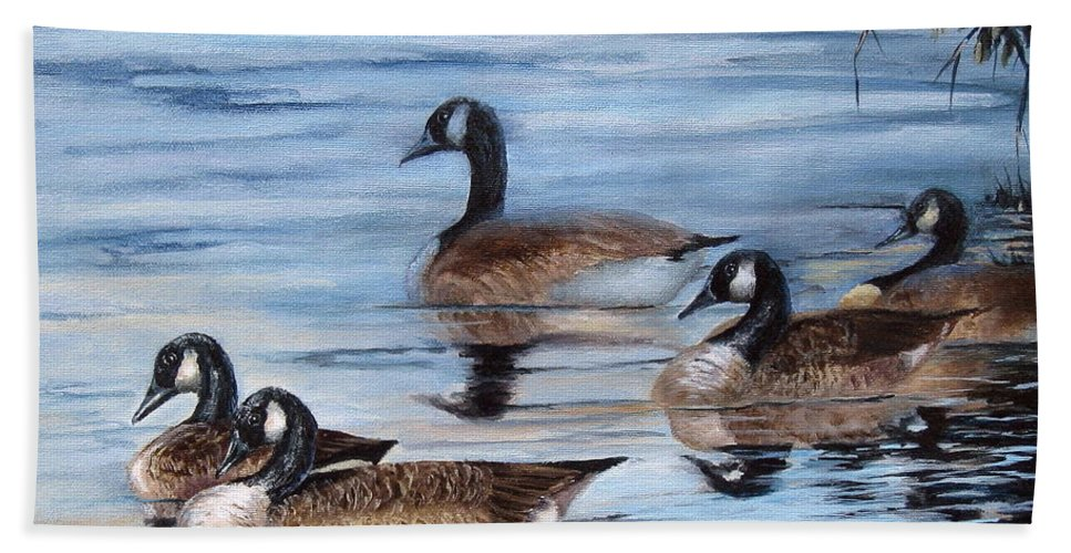Geese Bath Sheet featuring the painting Pushing Off by Mary McCullah