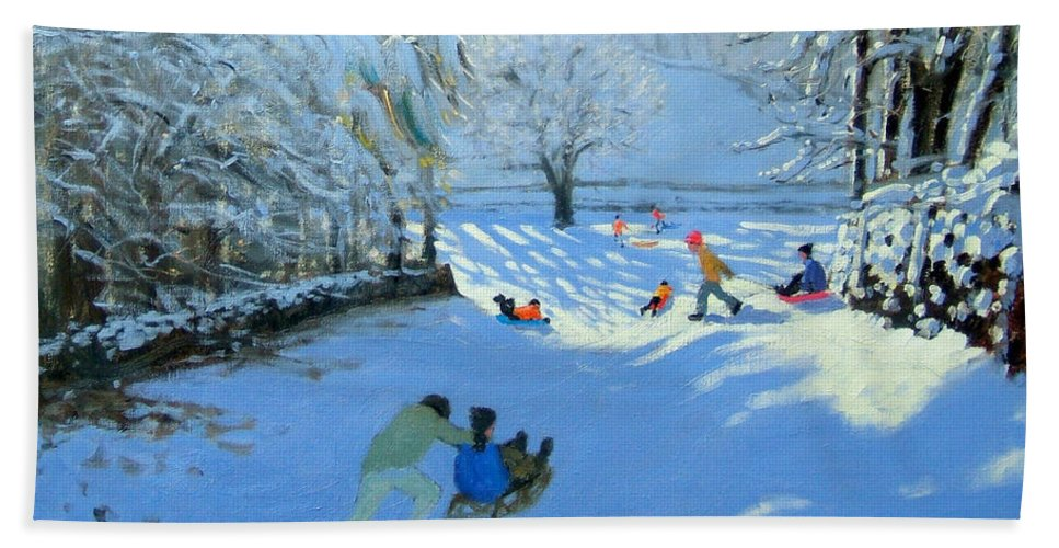 English Landscape Bath Sheet featuring the painting Pushing The Sledge by Andrew Macara