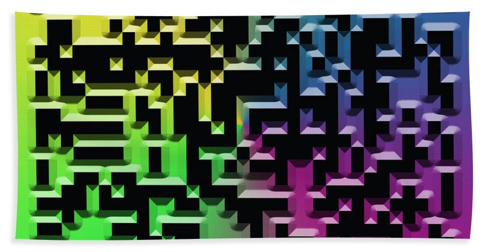 Abstract Hand Towel featuring the digital art Qr Art by Ricky Barnard