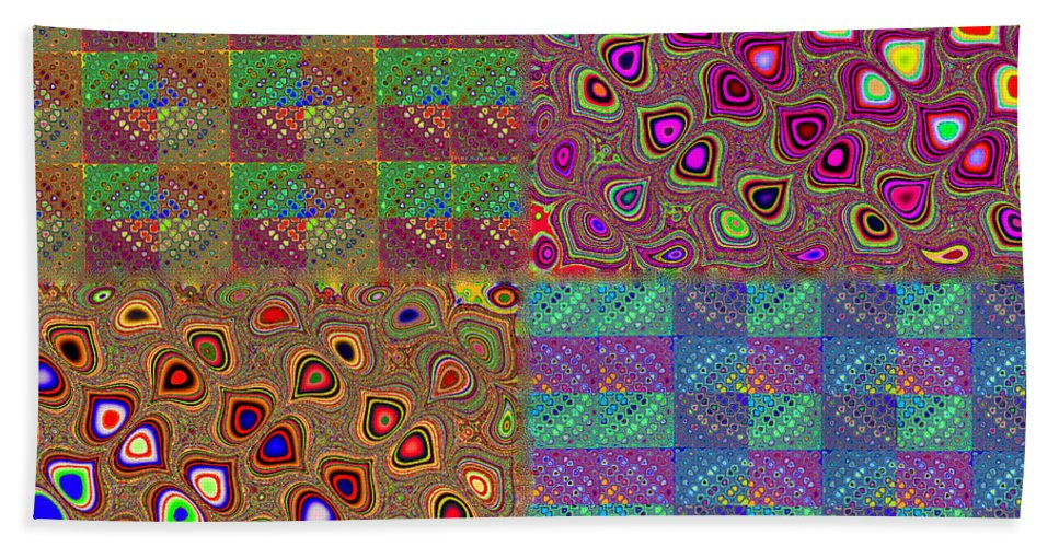 Quilt Bath Sheet featuring the digital art Quilted Fractals by Ericamaxine Price