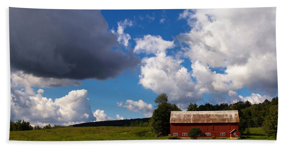 Red Barn Hand Towel featuring the photograph Quintessential Vermont by Stephanie McDowell