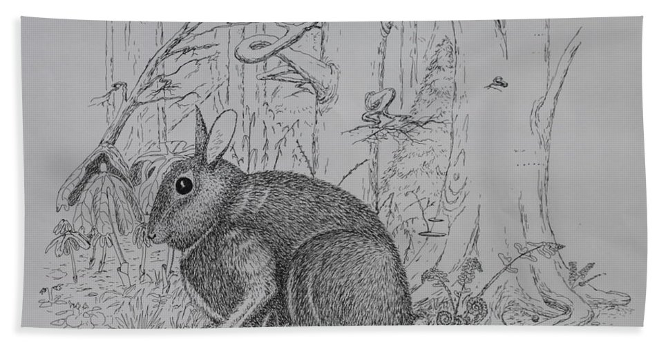Nature Bath Sheet featuring the drawing Rabbit In Woodland by Daniel Reed