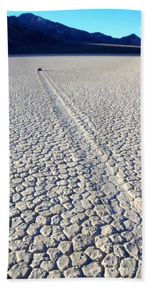 Racetrack Hand Towel featuring the photograph Racetrack Death Valley Trail Of Mystery by Bob Christopher
