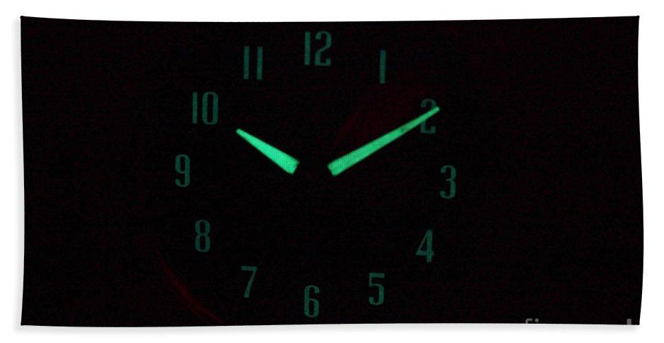 Radium Hand Towel featuring the photograph Radium Dial On Clock by Ted Kinsman